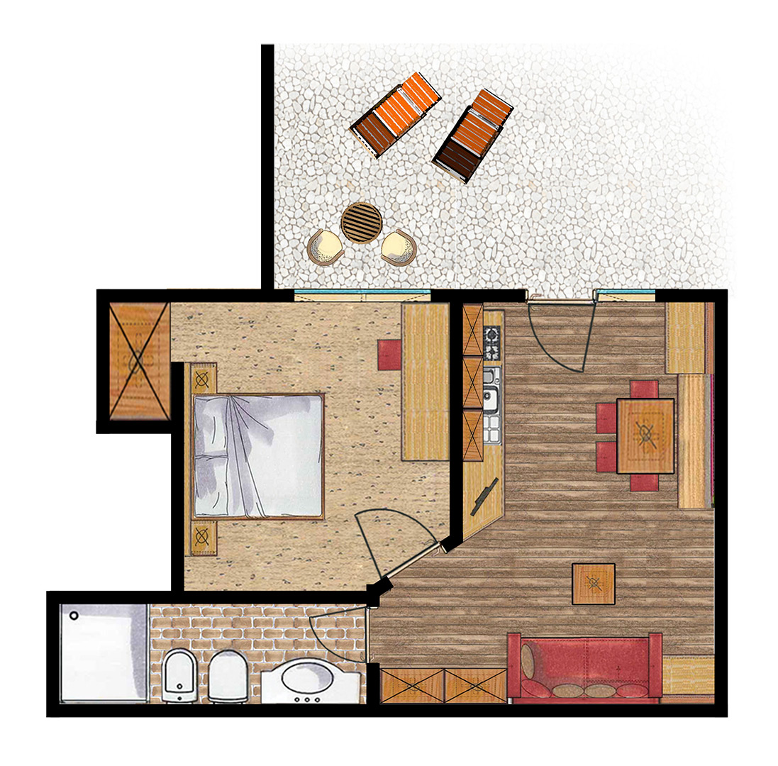 Room Plan Apartment for 2-3 guests