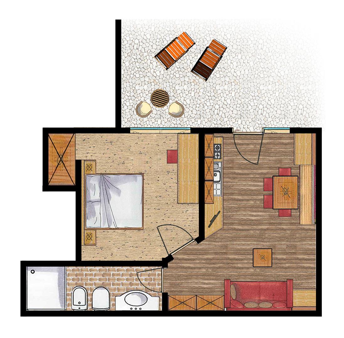Grundriss Apartment für 2-3 Personen