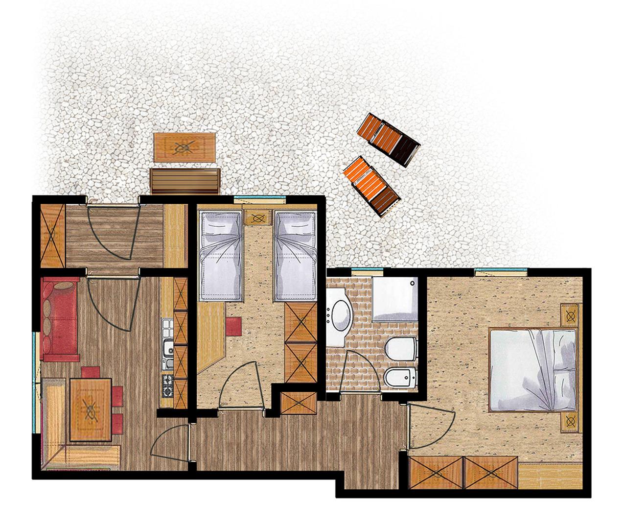 Grundriss Apartment für 2-5 Personen
